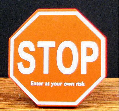 "Picture of ""STOP""  Wood Cubical Sign"