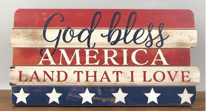 "Picture of ""God Bless America"" Wood Sign"