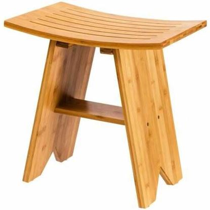 """Picture of 18"""" Bamboo Shower Stool Bench with Shelf"""
