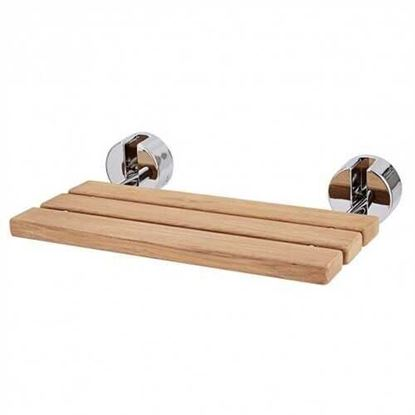 """Picture of 20"""" Wall Mounted Teak Wood Folding Shower Bath Seat"""