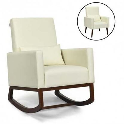 Picture of 2-in-1 Fabric Upholstered Rocking Chair with Pillow-Beige - Color: Beige