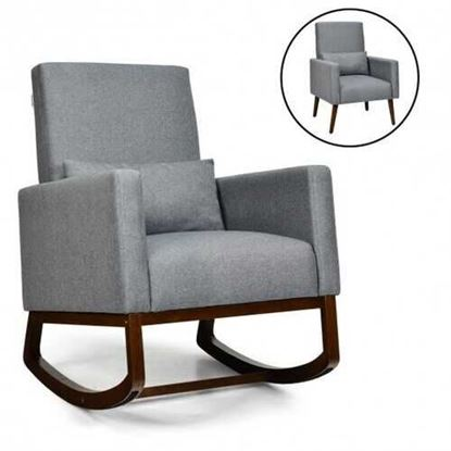 Picture of 2-in-1 Fabric Upholstered Rocking Chair with Pillow-Gray - Color: Gray