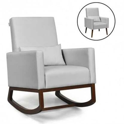Picture of 2-in-1 Fabric Upholstered Rocking Chair with Pillow-Light Gray - Color: Light Gray