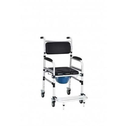 Picture of 2-in-1 Aluminum Commode Shower Wheelchair with Locking Casters