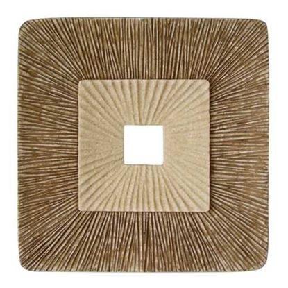 """图片 1"""" x 14"""" x 14"""" Brown Concave Square Double Layer Ribbed  Wall Plaque Set of 2"""