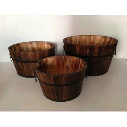 "图片 1"" x 15"" x 1"" Brown Wood Garden Planter  3 Piece"